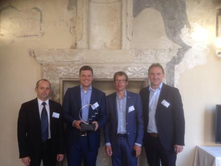 The proud winners of the IWA-KWR Award (fltr): Sven-Roger Kahl (Ardagh Glass), Olaf van der Kolk (Reststoffenunie), Jan Peter van de Hoek (Waternet) en Ludwig Cammaert (Desso).