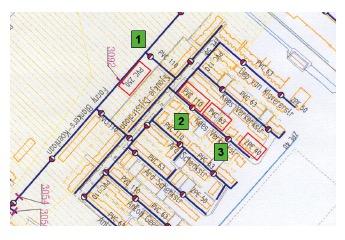 Tekening van één van de eerste zelfreinigende leidingnetten: 1 is het conventionele secundaire leidingnet, 2 en 3 geven een typische zelfreinigende tak zoals ontworpen met Self-Cleaning Network.