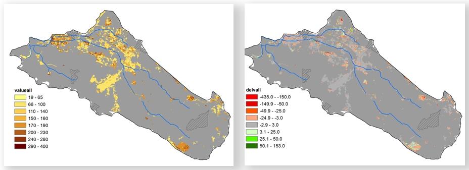 Fig. 1. Gesimuleerde potentiële natuurwaarden in het stroomgebied van de Baakse beek (270 km2, Gld) onder het huidige klimaat (links) en de natuurwaardeverandering in 2050 onder klimaatverandering (rechts).