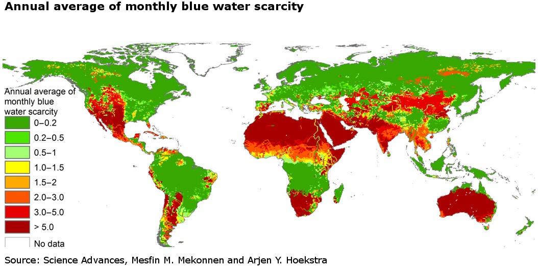 Waterschaarste wereldwijd (grond- en oppervlaktewater)