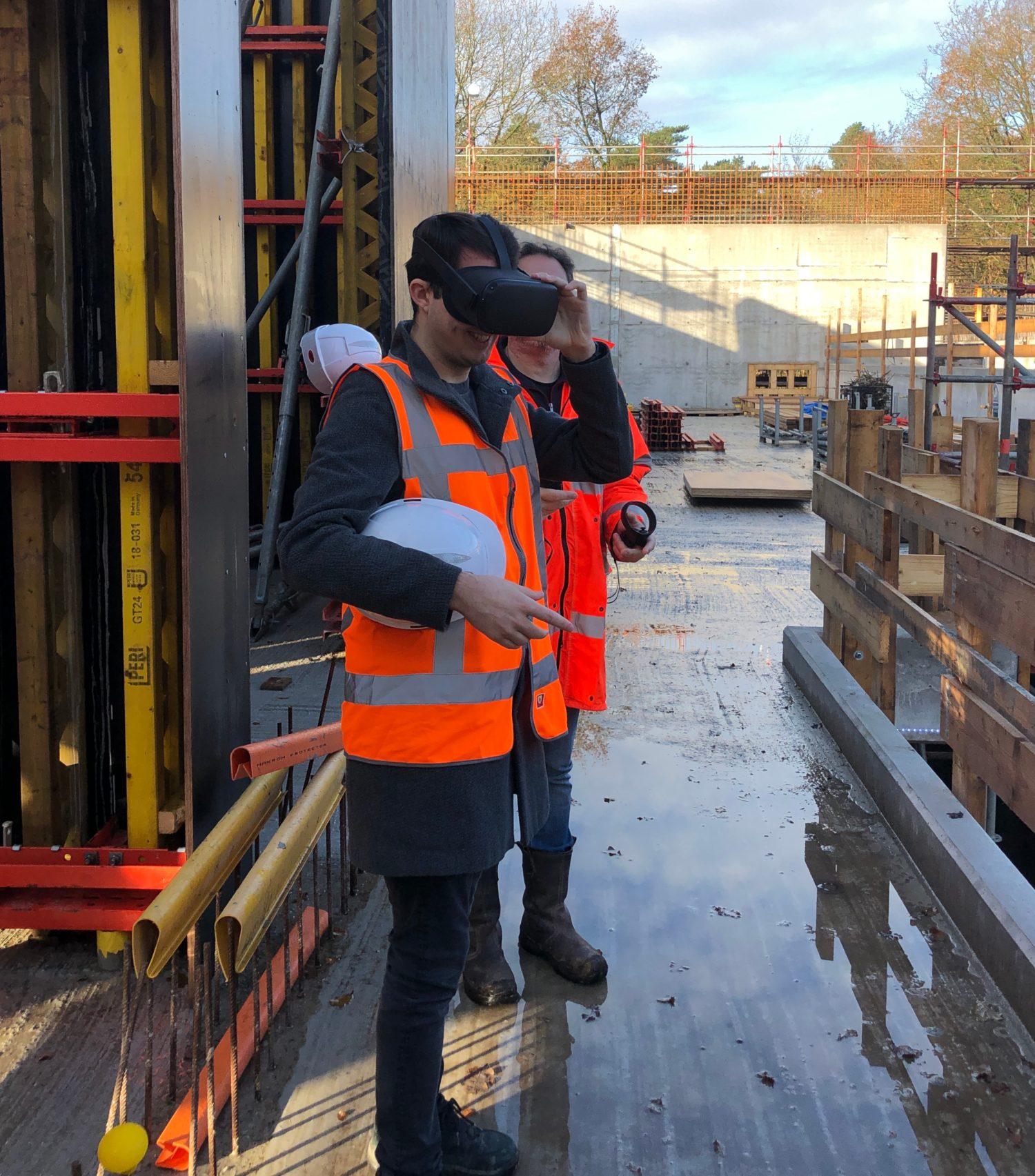 Controle of een constructie overeenkomt met het ontwerp; VR op de bouwplaats (Brabant Water)