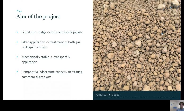 Screenshot during the (digital) presentation on the As2021 congress showing the pelletized iron sludge and the aim of the TKI Polishing Pellets project